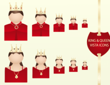 King & Queen Vector Icons