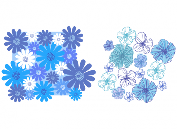 Vector Blue Flower Patterns