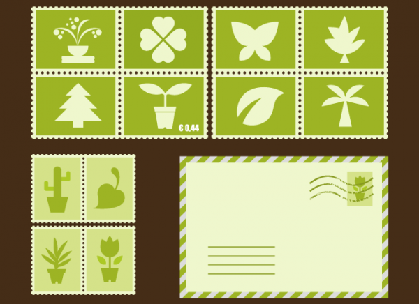 Green Plant Stamps