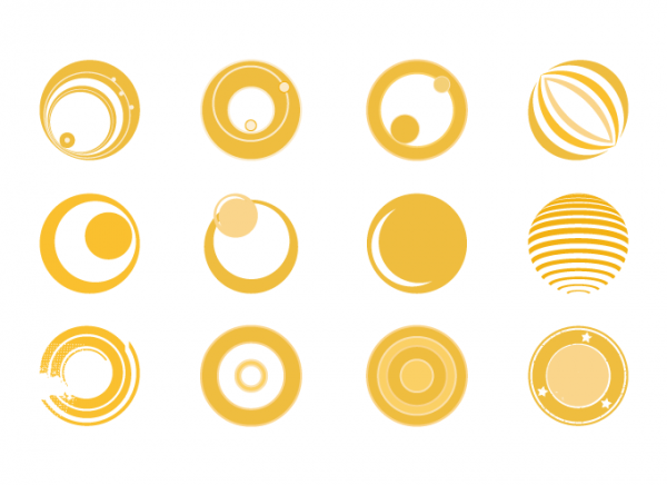 12 Yellow Retro Circles