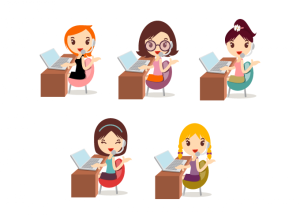 Callcenter Girls Vector Icons