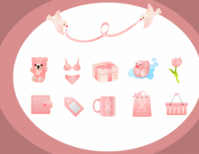 Pink Ribbon Shopping Vector Icons