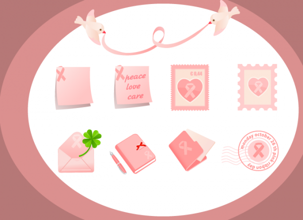 Pink Ribbon Stationary vector graphics