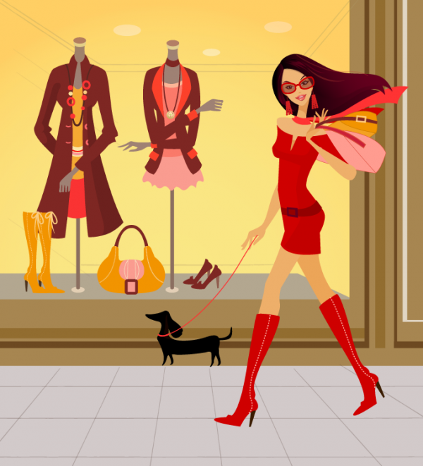 Shopping Woman in Red