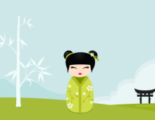 Kokeshi green vector wallpaper