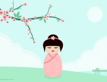 Kokeshi pink vector wallpaper