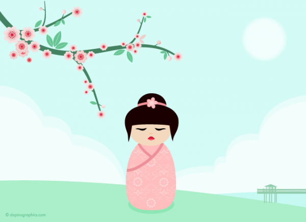 Kokeshi Pink Wallpaper