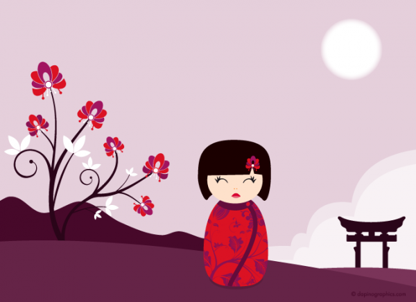 Kokeshi purple vector wallpaper