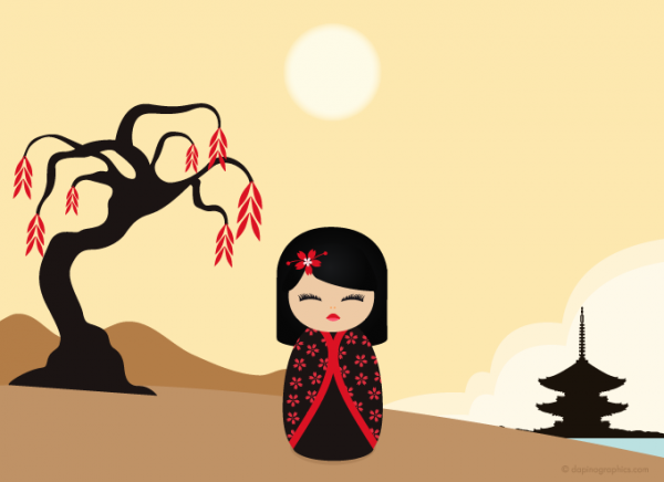kokeshi red vector wallpaper