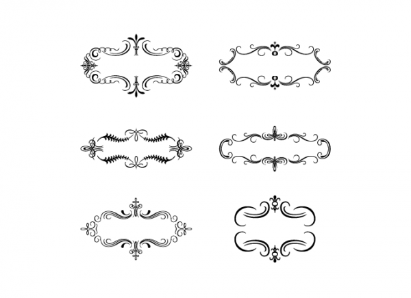 Decorative vintage banners in black & white