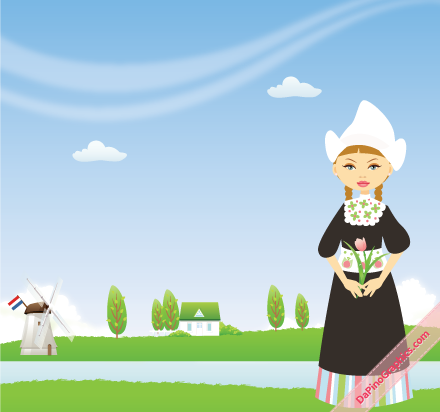 Dutch girl with traditional outfit in typical Dutch landscape
