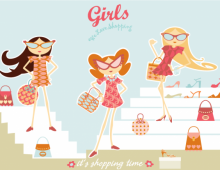 Retro shopping girls