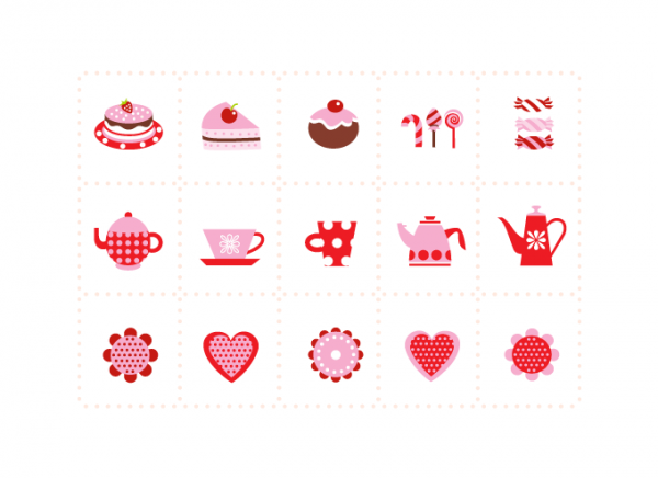 Sweeties, tea & coffee elements/icons