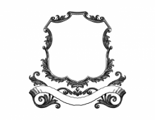 Vintage scroll frame with banner