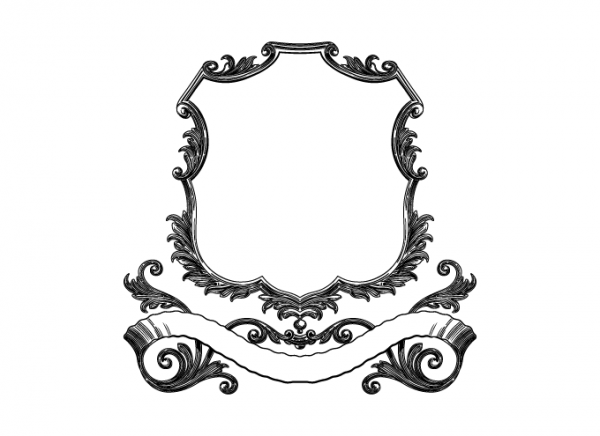 Vintage scroll frame with banner in black and white