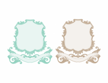 Colored vintage scroll frame with banner