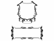 Vintage scroll frames in black and white