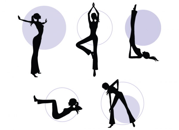 Vector Silhouette Aerobic Girls
