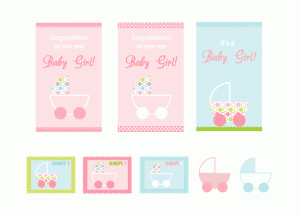 It's A Baby Girl card & stamps