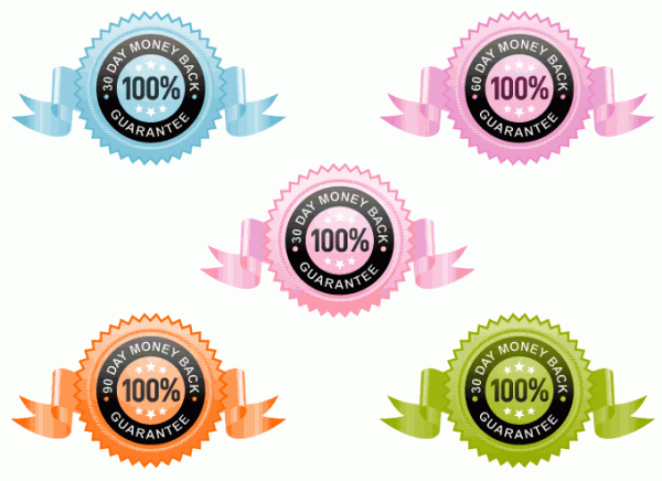 Colored Money Back Guarantee vector icons
