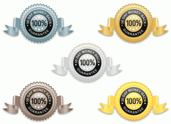 Metal Money Back Guarantee vector icons