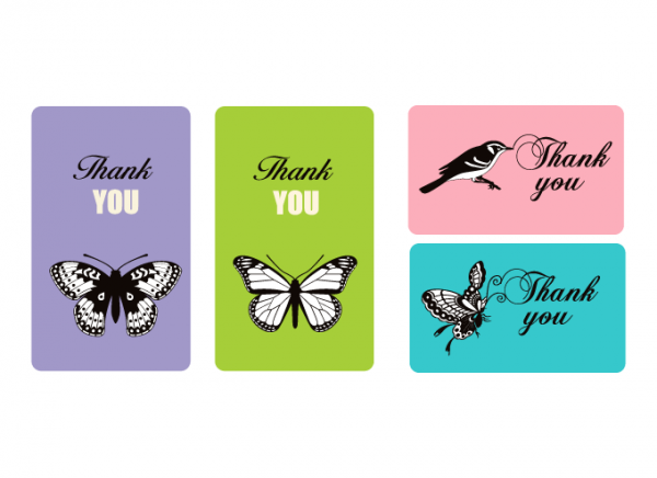 4 Thank You Cards in purple, green, pink & blue
