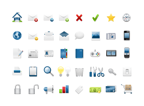 40 web Icons in silver & blue