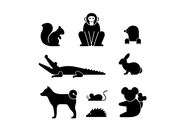 Abstract animals in black