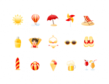 Beach Vector Icon Set