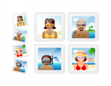Beach People In Frame Vector Icons