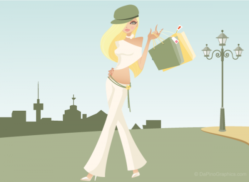 Wallpaper of vintage blond haired shopping girl