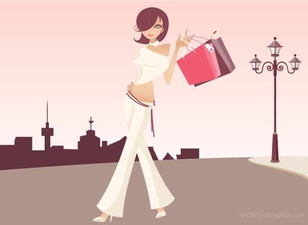 Wallpaper of vintage brown haired shopping girl