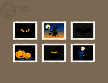 Vector Halloween stamps horizontal