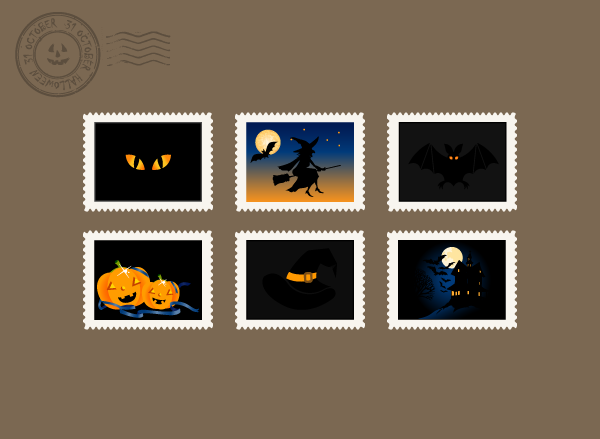 halloween stamps horizontal