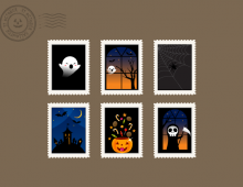 Vector Halloween Stamps Vertical