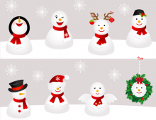 Snowmen vector icons