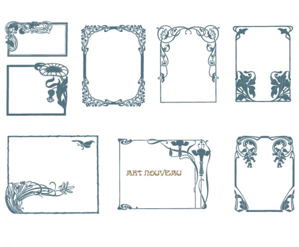 Vector Art Nouveau Border Frames | DaPinoGraphics