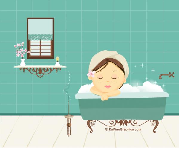 Girl Enjoy a Bath