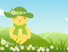 Female yellow bird with hat banner