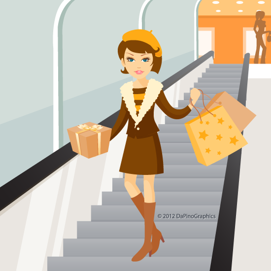 Shopping girl on escalator