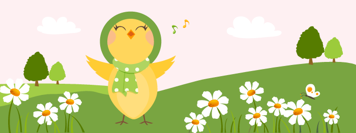 Singing female yellow bird banner