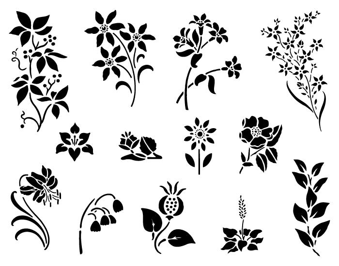 Vector Spring Flowers in black & white