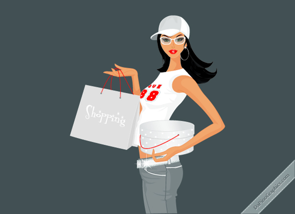 Sportive Shopping Girl Wallpaper