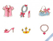 Hand drawn fashion female accessories