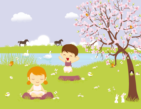 Children Yoga in landscape