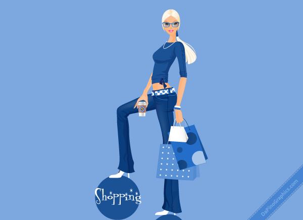 Casual Shopping Girl Wallpaper