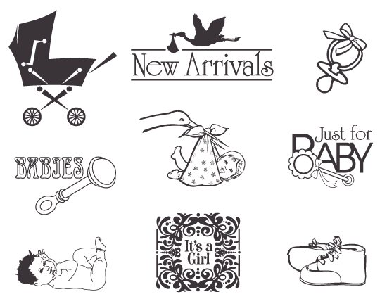 Vintage Baby Arrival Elements