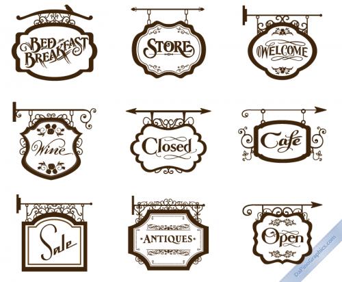 Vector Vintage Store Signs set I