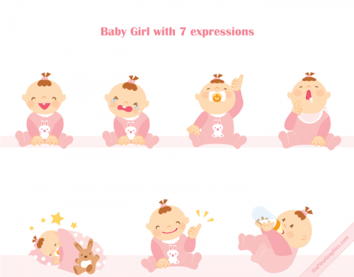 Baby Girl Vector Icons