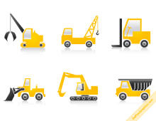 Construction Machines Vector Icons